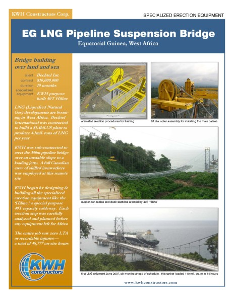 KWH - 2646 EG LNG Suspension Bridge - Specialized Erection Equipment - 2005